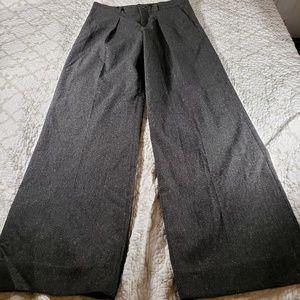 Banana Republic Wide Leg Wool Blend Trousers Grey